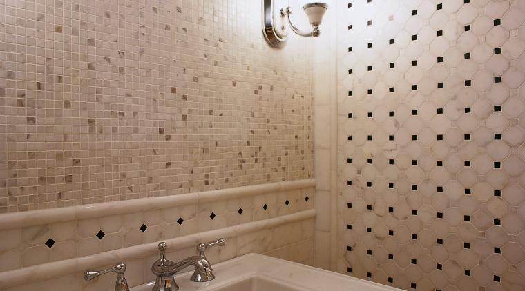 View of this hand basin bathroom, bathroom sink, ceiling, ceramic, floor, flooring, interior design, plumbing fixture, room, sink, tap, tile, wall, gray, brown
