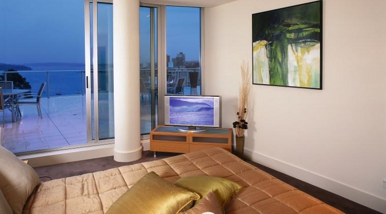 Interior view of bedroom apartment, condominium, estate, interior design, living room, penthouse apartment, property, real estate, room, window, gray