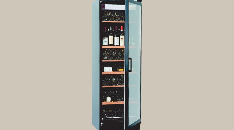 View of a cooling cabinet multimedia, product, product design, telephony, gray