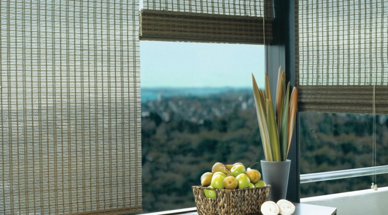 View of this window chading system curtain, interior design, shade, window, window blind, window covering, window treatment, black, gray