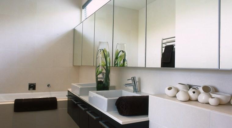 View of this bathroom architecture, bathroom, ceiling, countertop, floor, interior design, kitchen, product design, room, sink, gray
