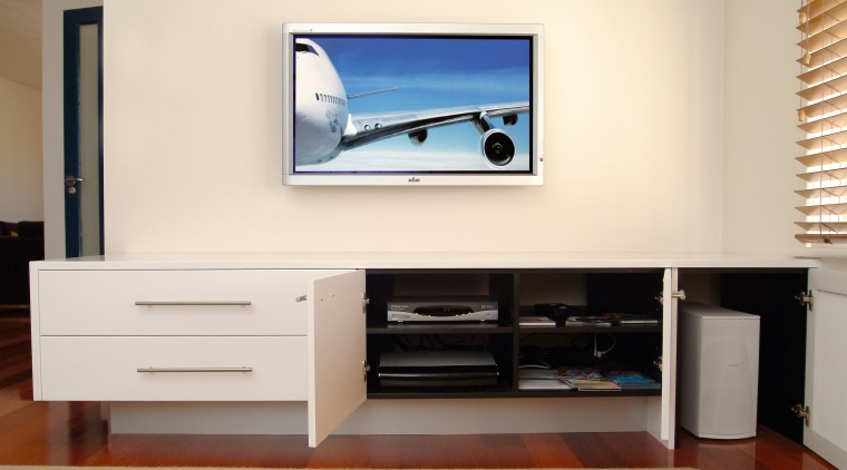 Interior view of lounge display device, flat panel display, furniture, interior design, multimedia, product design, room, shelving, television, white