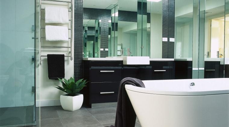 Interior view of the bathroom bathroom, floor, flooring, glass, interior design, plumbing fixture, product design, tile, gray