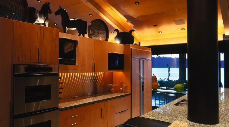 View of this modern kitchen architecture, countertop, flooring, interior design, kitchen, wood, brown, black