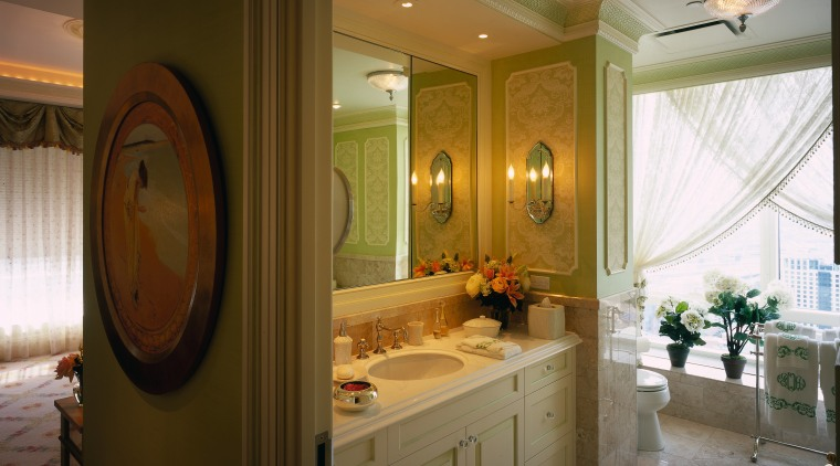 View of this traditional bathroom bathroom, ceiling, countertop, estate, home, interior design, room, window, brown