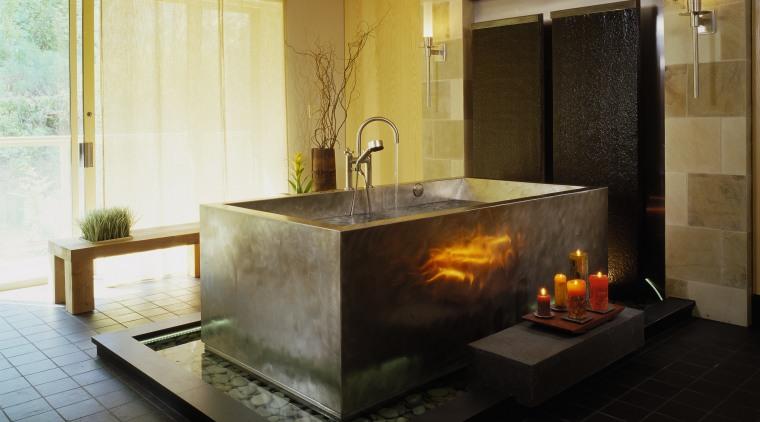 Interior view of spa bath fireplace, hearth, interior design, black, brown