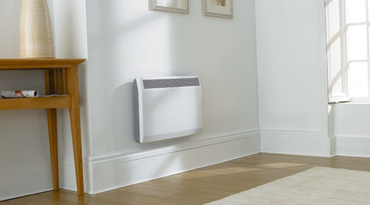 Wall mounted white panel heater in room with floor, flooring, furniture, hardwood, interior design, laminate flooring, product, product design, tap, tile, wall, wood, wood flooring, gray, white