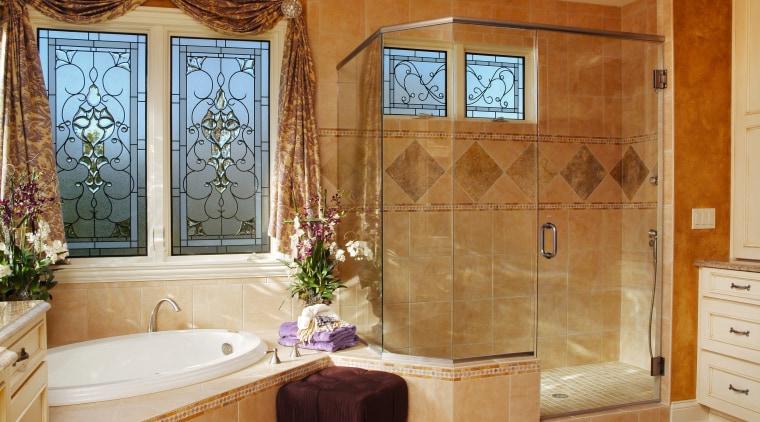 View of this bathroom bathroom, cabinetry, door, estate, floor, flooring, home, interior design, real estate, room, tile, wall, window, brown, orange
