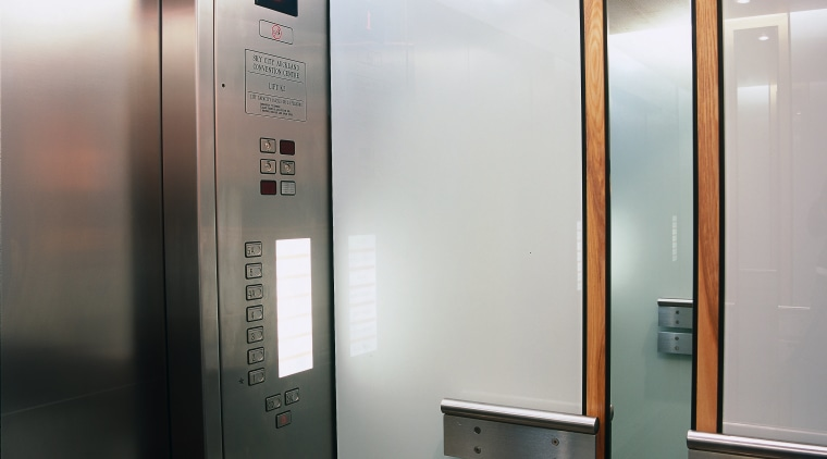 Lift area with aluminium doors and control panel, elevator, home appliance, gray, black