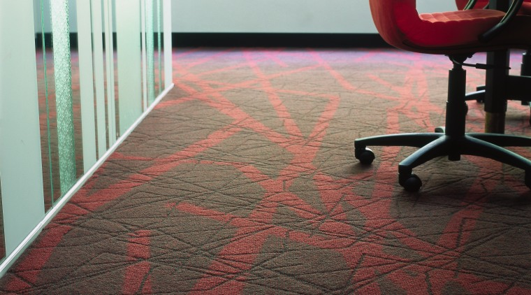 Textured carpet with red pattern, patterned glass partition, carpet, chair, floor, flooring, hardwood, interior design, laminate flooring, red, table, tile, wall, wood, wood flooring, black, gray