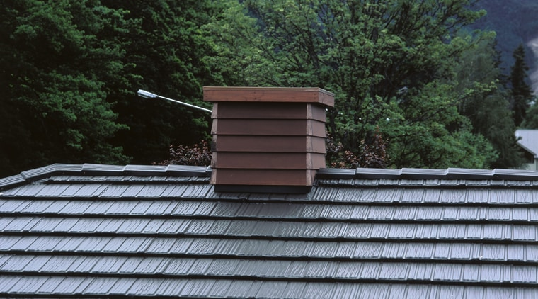 Closeup of roofing material and chimney. architecture, house, line, outdoor structure, roof, tree, wood, black