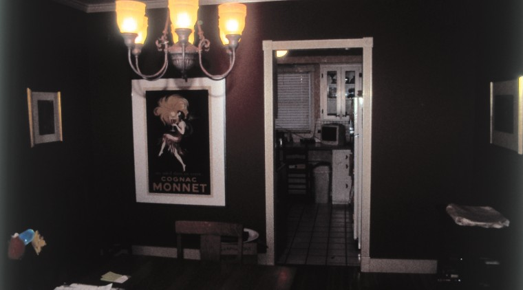 Before view of the kitchen and dining area. home, interior design, light fixture, room, window, black