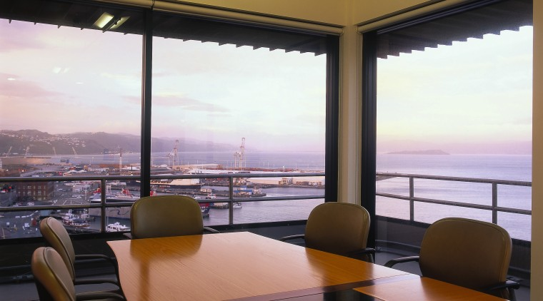 View of the meeting room, carpet, wooden desk apartment, architecture, ceiling, condominium, interior design, living room, real estate, room, window, brown