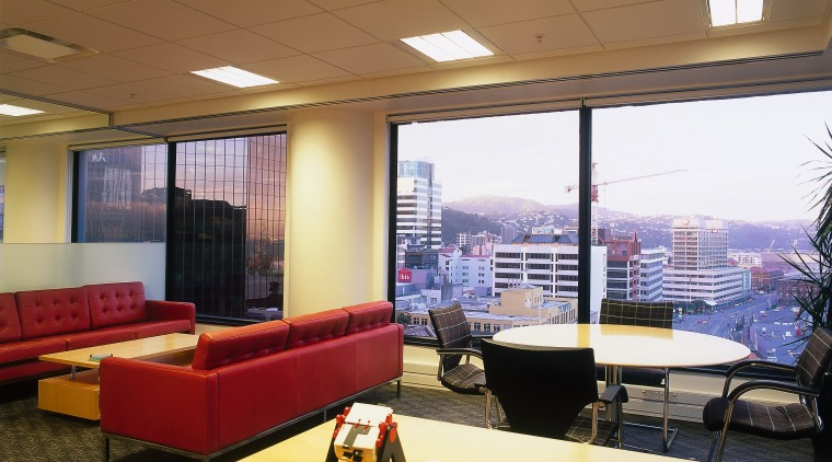 View of a office, carpet, large square windows, ceiling, interior design, office, real estate, window, brown
