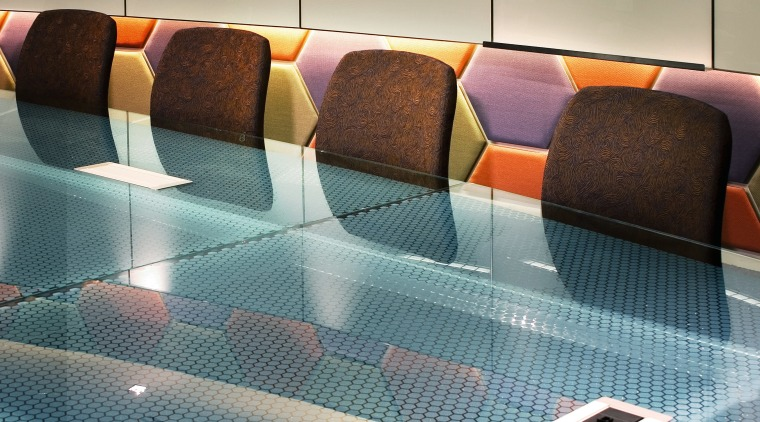 View of the glass meeting desk and brown chair, couch, floor, flooring, furniture, interior design, product, product design, table, tile, gray