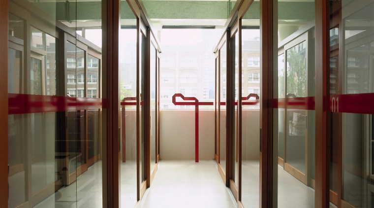 View of a hallway, white floor, glass screens architecture, door, glass, interior design, window, brown