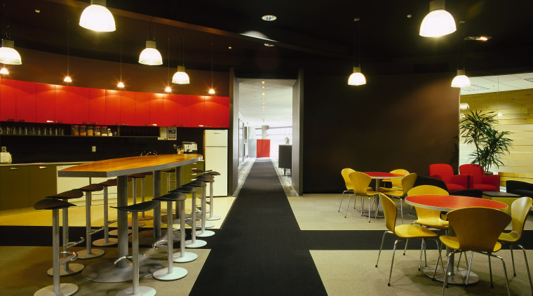 View of the kitchen, black and white floor, function hall, interior design, lighting, restaurant, table, black, brown
