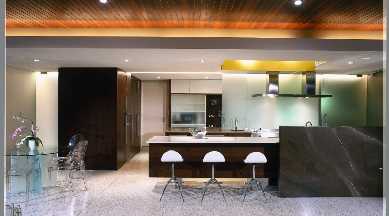 view of the kitchen dining area showing terazzo ceiling, interior design, lighting, lobby, gray, black