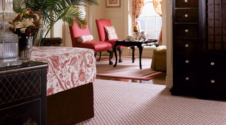 View of a bedroom, red patterned carpet, wooden carpet, floor, flooring, hardwood, home, interior design, laminate flooring, living room, lobby, room, tile, window, wood, wood flooring, gray, black