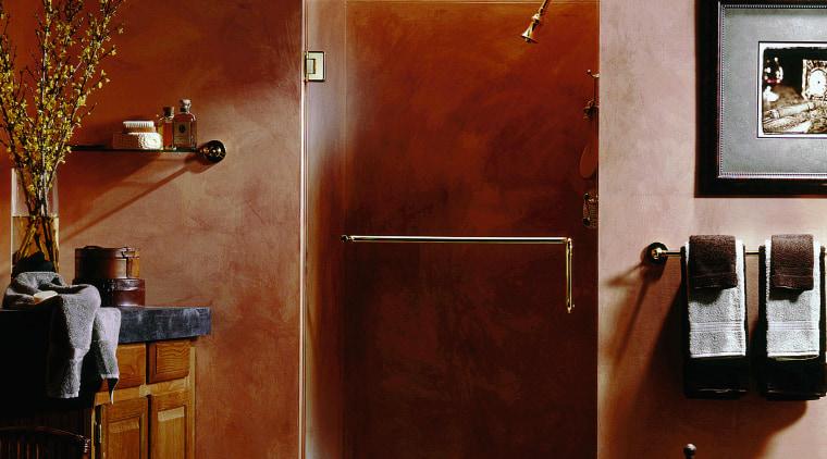 View of a bathroom, burnt orange walls, glass door, floor, furniture, interior design, wall, red, brown