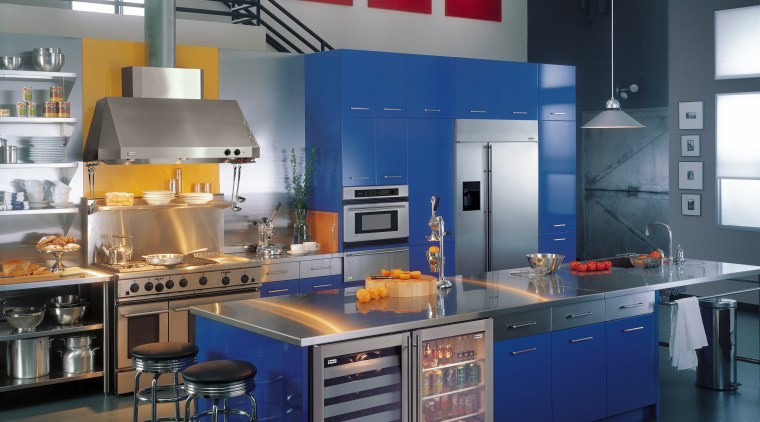 View of a kitchen, blue cabinetry, polished concrete countertop, interior design, kitchen, product, gray