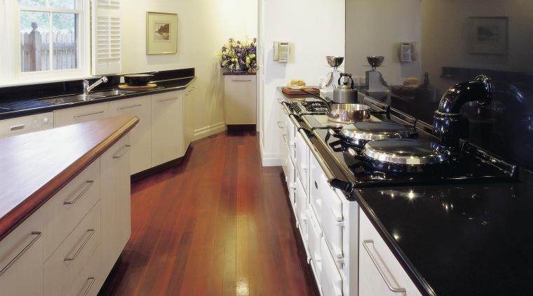 view of the hi-macs acrylic solid surface benchtop countertop, floor, flooring, hardwood, kitchen, room, white, black