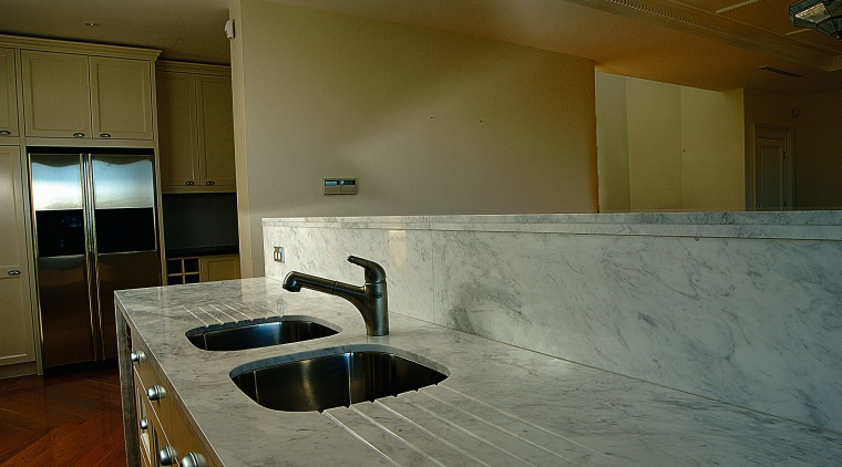 view of a marble benchtop with integrated drainage architecture, countertop, floor, flooring, home, house, interior design, kitchen, room, wood, brown, gray