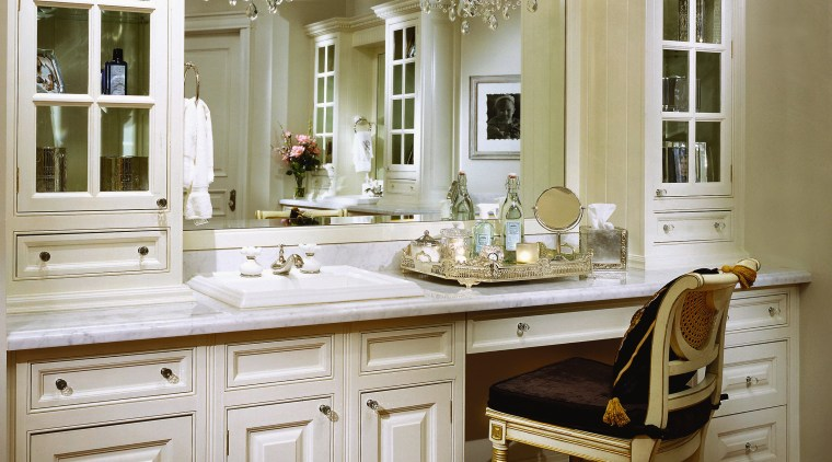 View of a powder room, large mirror, white cabinetry, chest of drawers, countertop, cuisine classique, furniture, home, interior design, kitchen, room, window, brown