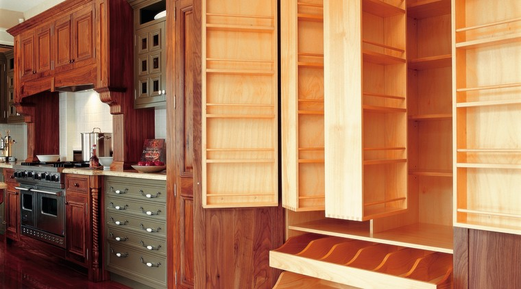 view of custom timber cabinets and pantry cabinetry, countertop, cuisine classique, cupboard, flooring, furniture, hardwood, interior design, kitchen, shelving, wood, wood flooring, wood stain, red, orange