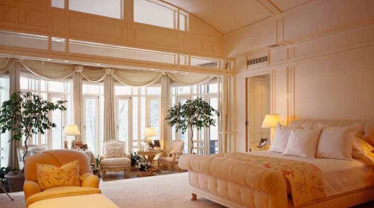 View of the master bedroom, cream walls, large ceiling, estate, home, interior design, living room, real estate, room, suite, window, window covering, window treatment, brown