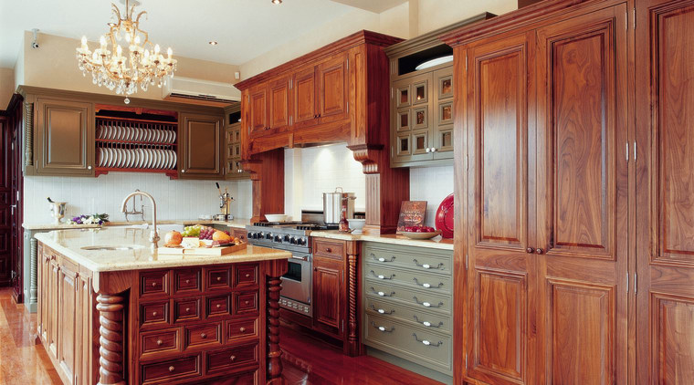 View of traditional kitchen with timber cabinetry and cabinetry, countertop, cuisine classique, floor, flooring, hardwood, interior design, kitchen, laminate flooring, room, wood, wood flooring, red