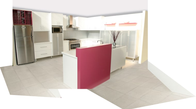 view of this bright white kitchen area showing angle, floor, flooring, furniture, interior design, product, product design, table, white