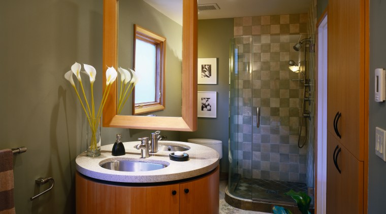 Bathroom with round vanity featuring twin basins and bathroom, ceiling, estate, home, interior design, real estate, room, brown