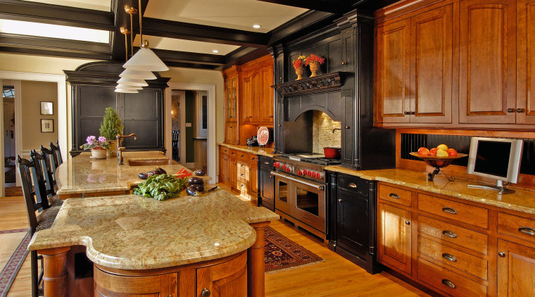 View of a kitchen, wooden flooring, wooden cabinetry, cabinetry, countertop, cuisine classique, flooring, hardwood, interior design, kitchen, room, brown