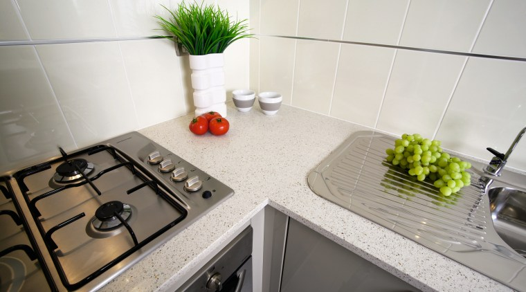view of the quantum quartz benchtop countertop, interior design, kitchen, property, room, sink, tap, tile, white