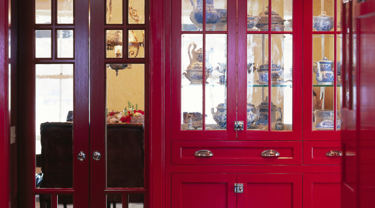 View of this  redeveloped 19th century kitchen bookcase, cabinetry, door, interior design, window, red
