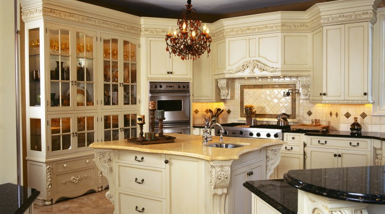 view of the kitchen sowing timber/glass cabinetry stainless cabinetry, countertop, cuisine classique, interior design, kitchen, room, gray, brown