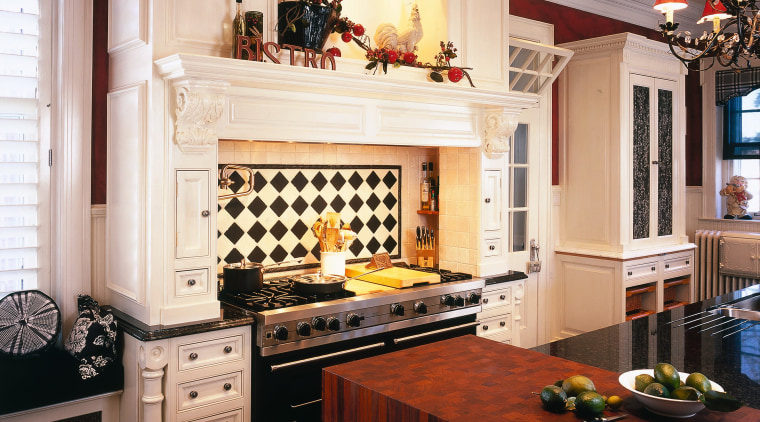 view of the customized kitchen mantle by Clive cabinetry, ceiling, countertop, cuisine classique, flooring, home, interior design, kitchen, room, gray, black