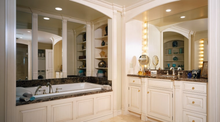 view of the whirlpool tub and detail timber bathroom, cabinetry, countertop, cuisine classique, estate, floor, flooring, home, interior design, kitchen, room, window, gray