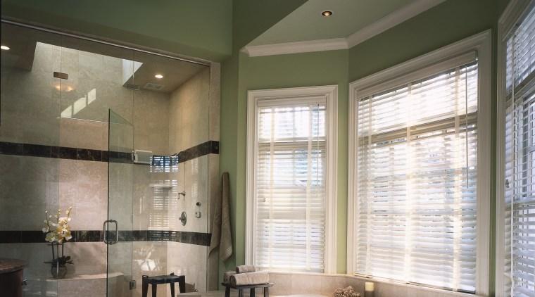 view of the bathroom showing large bay windows bathroom, ceiling, daylighting, floor, home, interior design, lighting, room, window, gray, black