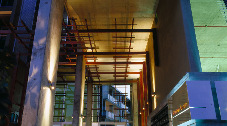 view of the entrance to newstead terraces architecture, building, daylighting, facade, metropolitan area, structure, black