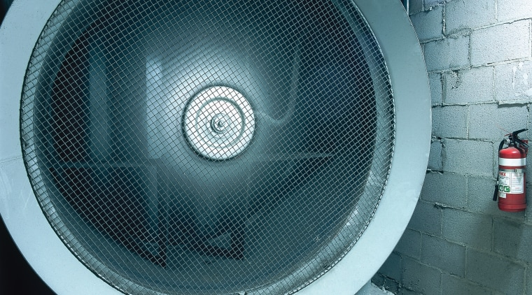view of the large ventilation fans and ducting audio, audio equipment, loudspeaker, product, product design, subwoofer, technology, teal, white