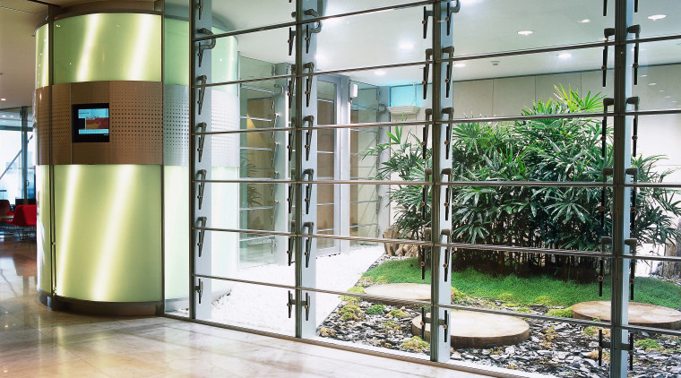 view of the xt operable glass louvres door, floor, flooring, glass, lobby, structure, white