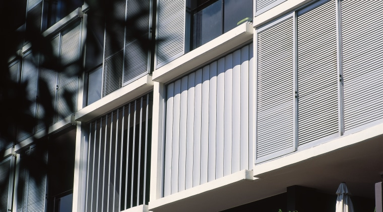 view oof the luxalon sun louvres architecture, balcony, baluster, building, daylighting, daytime, facade, glass, handrail, house, line, siding, structure, window, black, white