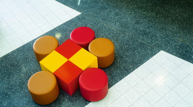 view of the terazzo tiles design, floor, flooring, material, plastic, play, product design, red, table, yellow, teal, white