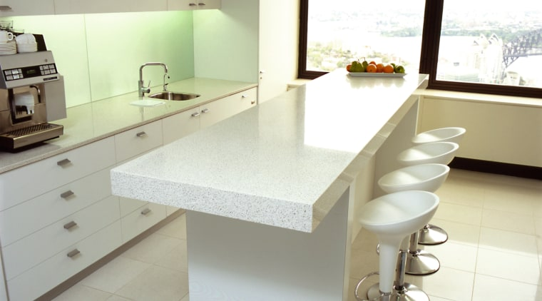 view of the granite  benchtops and wall countertop, floor, furniture, interior design, kitchen, product design, table, white, gray