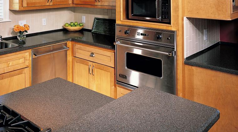 view of the hi-macs kitchen benchtop cabinetry, countertop, floor, flooring, hardwood, interior design, kitchen, room, wood, black, orange