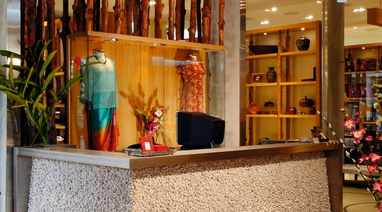 View of the stainless steel and pebbled reception boutique, furniture, interior design, lobby, brown, orange