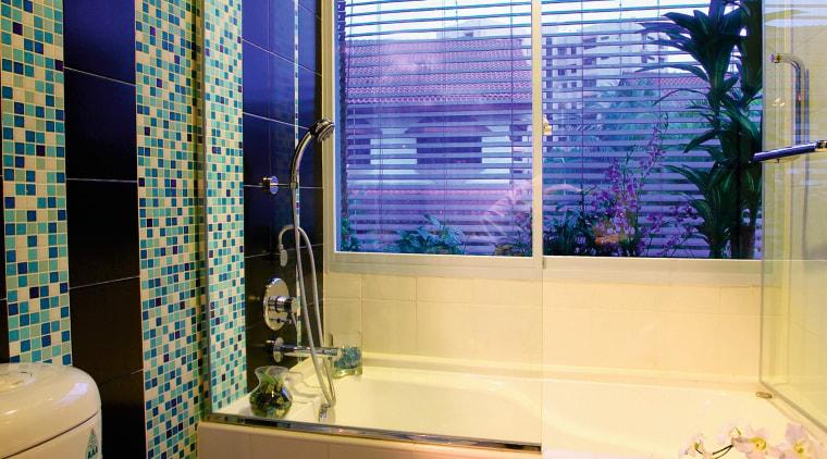 view of the bathroom area with soft tones, bathroom, home, house, interior design, room, window, window covering, window treatment, brown, orange