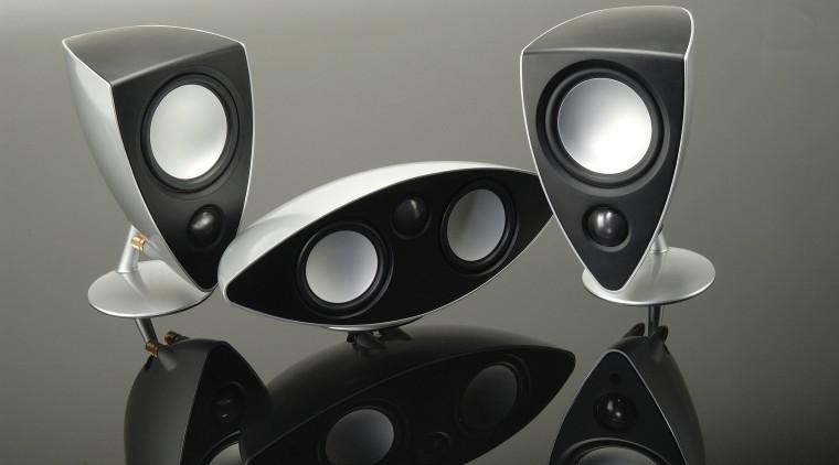 view of these custom alluminium  powerful Genie audio, audio equipment, automotive design, computer speaker, loudspeaker, multimedia, product, product design, sound, subwoofer, technology, gray, black